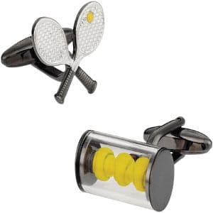 Tennis Cufflinks in racket and ball design